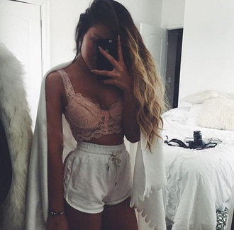 top bralette lace top shorts white drawstring white shorts underwear bra lace lingerie cute top chill crop lace sexy pink lace bralette