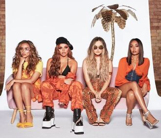 dress pants top orange orange dress little mix instagram summer outfits summer top jesy nelson leigh-anne pinnock jade thirlwall perrie edwards editorial camouflage camo jacket jacket