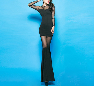 dress black mesh cut-out mermaid trumpet black dress