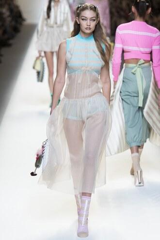 dress gigi hadid fendi runway milan fashion week 2016 see through see through dress underwear purse