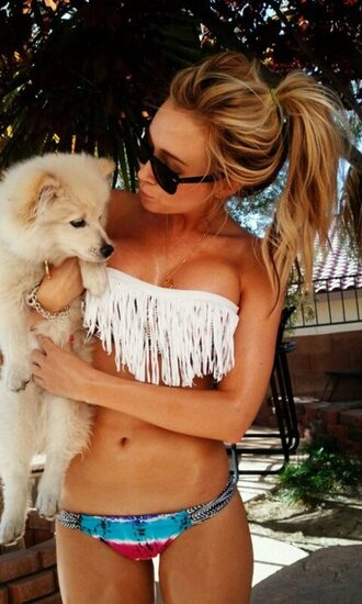 swimwear bikini fringes summer outfits multicoloured blonde girl cute dog sunglasses lifestyle white bikini dog boobs swag clothes blonde hair india westbrooks hollydays vintage hipster bathik fringe bikini puppy pretty girl chain bracelet white