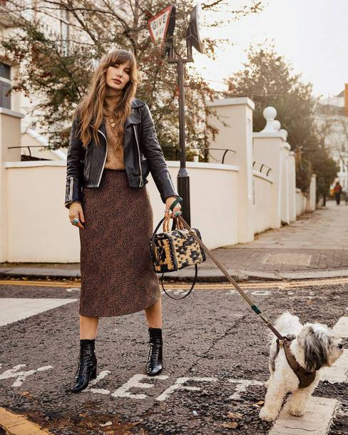 jacket leather jacket patent shoes ankle boots bag midi skirt sweater