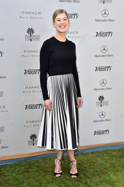 skirt top black and white midi skirt rosamund pike pleated skirt