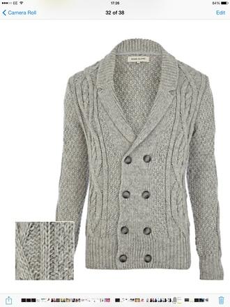 cardigan cable knit menswear mens cardigan grey