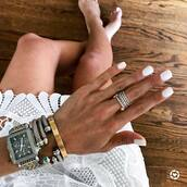 jewels,watch,nails,tumblr,jewelry,silver jewelry,bracelets,silver bracelet,ring,silver ring,white nails,nail polish