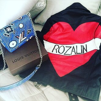 jacket customised leather jackets black leather jacket black jacket leather jacket heart bag black bag blue bag crossbody bag louis vuitton louis vuitton bag printed bag