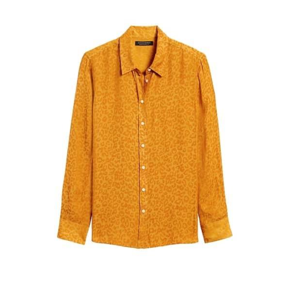 Banana Republic Women's Dillon Classic-Fit Leopard Shirt Marigold Yellow Leopard Big And Tall Size M