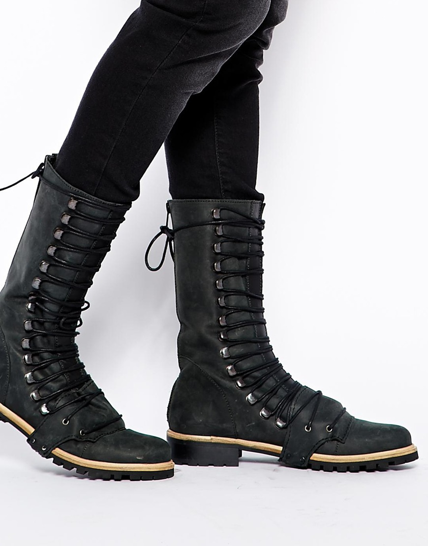 Free people fleet lace up flat boots at asos.com
