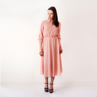 dress pink dress polka dor dress shirt dress polka dots dots 50's style knee length over-the-knee long sleeves long sleeve dress simple dress middle vintage old school vintage blush pink coral