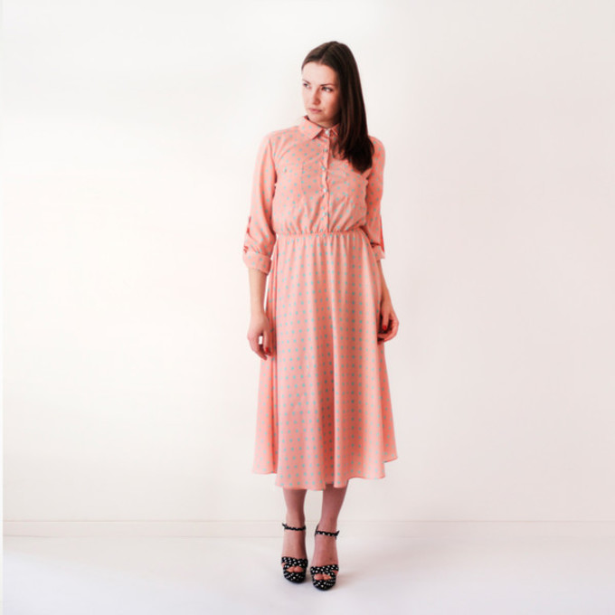 middle dress long sleeve dress vintage pink dress polka dor dress shirt dress polka dots dots 50's style knee length over-the-knee long sleeves simple dress old school vintage blush pink coral the middle