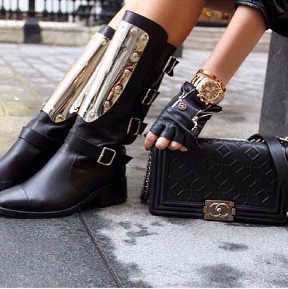 shoes boots metallic gold boots black black and gold boots with spikes and cheetah print