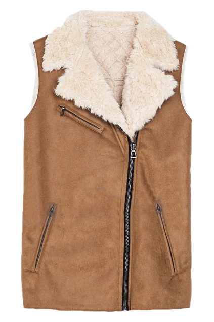 ROMWE | Lapel Sleeveless Zippered Khaki Vest, The Latest Street Fashion