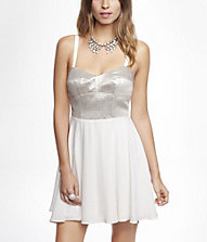 METALLIC CORSET FIT AND FLARE DRESS | Express