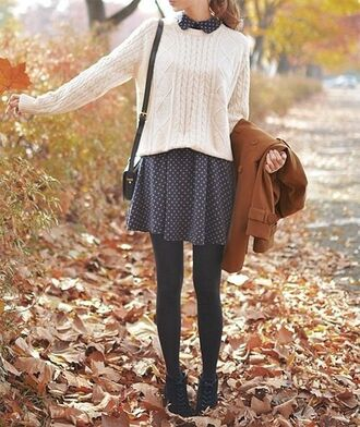 sweater fall outfits winter outfits brown jacket blue poka dot dresss laced black ankle boots clara oswald black shoulder bag