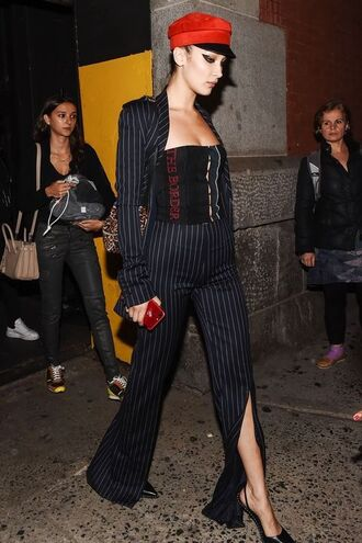 pants blazer hat bella hadid model off-duty nyfw 2017 ny fashion week 2017 top strapless pumps shoes