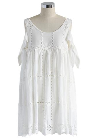 dress white crochet dolly dress