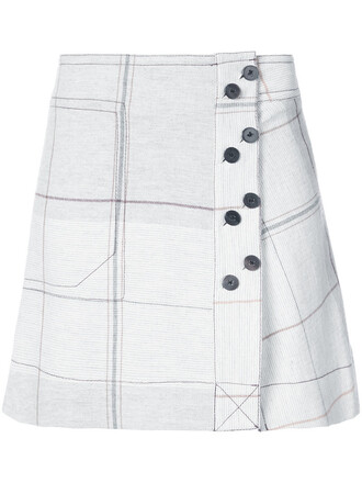 skirt mini skirt mini women print wool grey grid