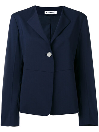 blazer women spandex blue silk wool jacket