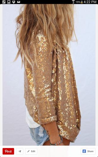 cardigan gold sequin blazer jacket sequins jewels sequin jacket gold sequins blazer top sparkle sparkly top blouse shirt glitter gold summer concert boho punk yellow mellow cute long sleeves
