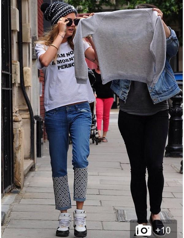 jeans cara delevingne pattern 70s style hippie denim