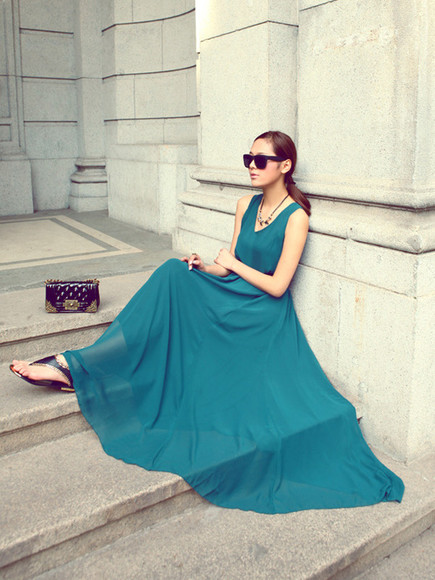 dress summer dress blue dress spring dress maxi dress chiffon green dress chiffon dress bowknot
