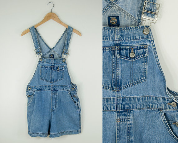 Vintage blue denim shortalls.  jean short by heirravintage on etsy