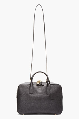 Saint Laurent Black Scotchgrain Leather Museum Tote for women | SSENSE