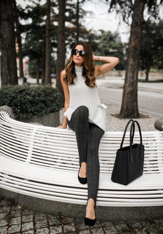 themilleraffect blogger sweater leggings bag sunglasses fall outfits tote bag black bag sleeveless sweater