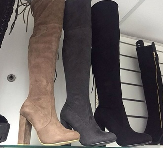 shoes thigh highs thigh-high boots thigh high boots fall outfits black heels black boots