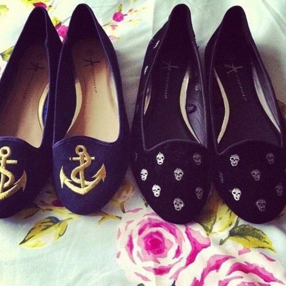 shoes navy flats anchors skull dark blue beautiful