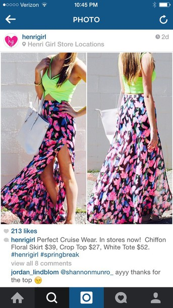 skirt chiffon floral maxi