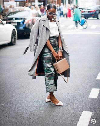 pants grey coat nude bag tumblr camouflage camo pants shoes flats top coat sunglasses bag