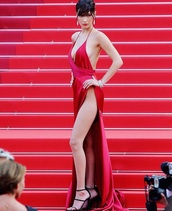 dress,bella hadid,red dress,slit dress,plunge v neck,v neck,sexy dress,sexy,cannes,red carpet dress