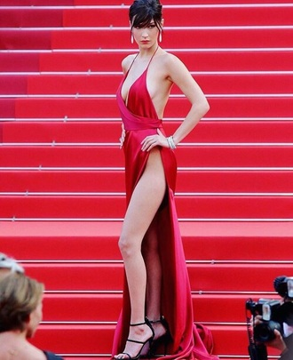 dress bella hadid red dress slit dress plunge v neck v neck sexy dress sexy cannes red carpet dress