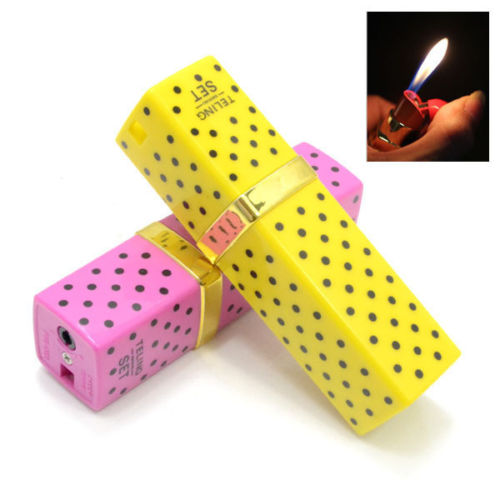 Fashion lipstick shape refillable butane cigarette lighter pink or yellow color