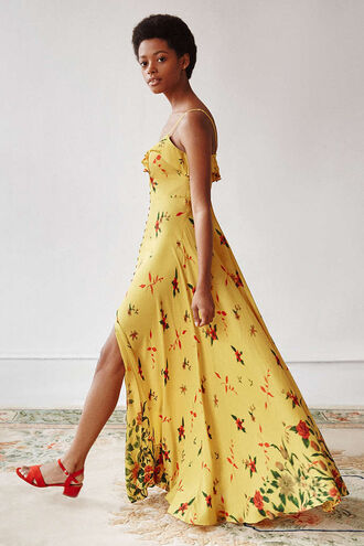 dress summer dress button up floral maxi dress yellow dress
