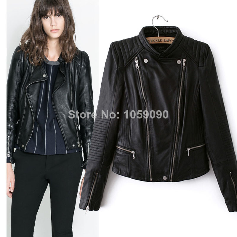 Aliexpress.com : Buy 2014za New Women Motocyle Bomber Leather Jacket Blazer Double Oblique Zipper Roupas Front Long Back Short Coat Free Shipping from Reliable coat duck suppliers on Vogue Official Online Shop