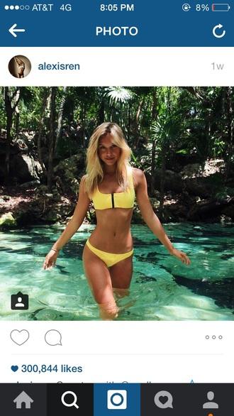 swimwear bikini yellow alexis ren