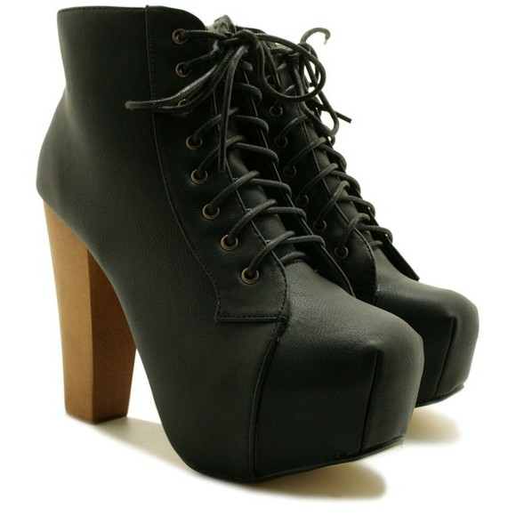 shoes black high heels jeffrey campbell lita litas boots platform lace up jeffery campbell
