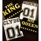 t-shirt,tees2peace,couple,bonnie and clyde,king,queen,king and queen,beyonce,number,tumblr shirt,instagram famous,anniversary present,valentines day gift idea,best gifts,love,bonnie,clyde