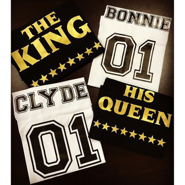 T Shirt Tees2peace Couple Bonnie And Clyde King Queen King And