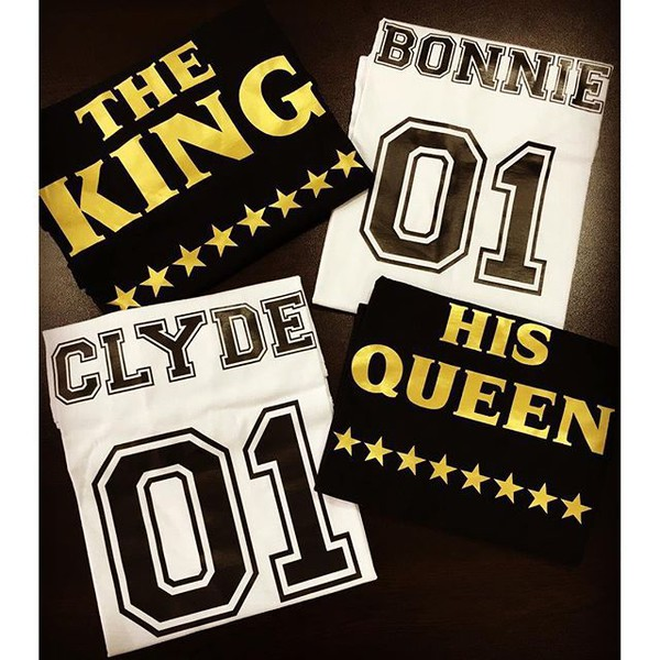 t-shirt tees2peace couple bonnie and clyde king queen king and queen beyonce number tumblr shirt instagram famous anniversary present valentines day gift idea best gifts love bonnie clyde