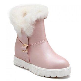 shoes boots booties pink pastel pastel pink kawaii kawaii grunge kawaii shoes lolita japan japanese fashion asian cute faux fur winter boots weheartit platform shoes thanksgiving rose wholesale