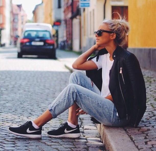 premium selection 44e07 82b1e jacket black jeans leather jacket leather roshe rum nike roshe run women  nikes