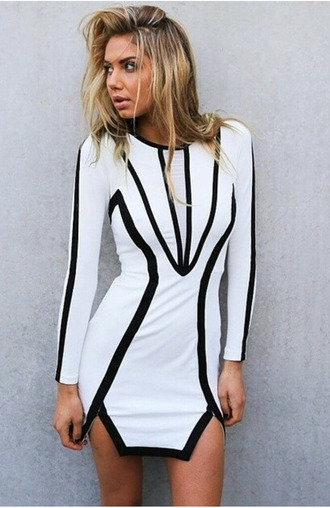 dress black and white geometric bodycon dress long sleeve dress mini dress