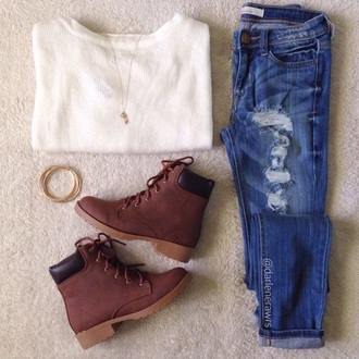 shoes boots brown boots indie hipster jeans sweater tumblr tumblr outfit home accessory jacket