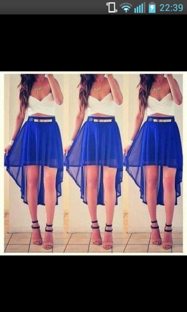 skirt high low skirt blue see through blue skirt high low skirt cute skirt gold belt white top bandue belt shoes tank top chiffon skirt dress white and blue dress