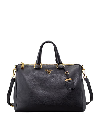 Prada Daino Medium Zip Tote Bag, Nero - Neiman Marcus