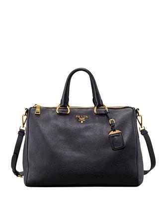 Prada Daino Medium Zip Tote Bag, Nero - Neiman Marcus