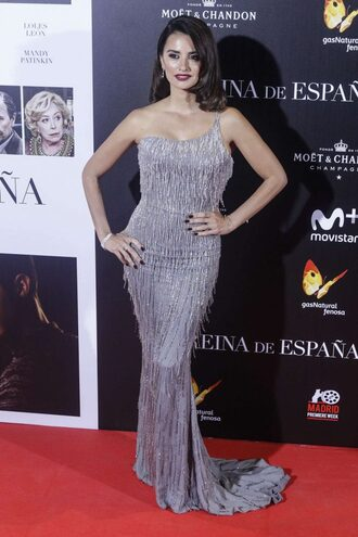 dress gown prom dress penelope cruz long dress silver fringes